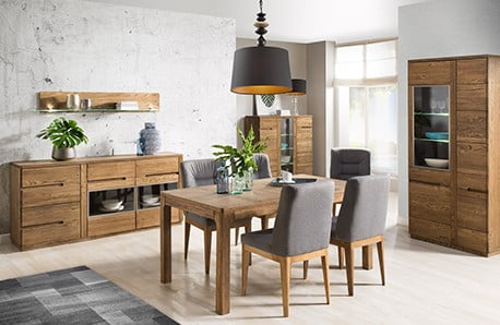 Vitríny, komody a stolky v dřevěném dekoru