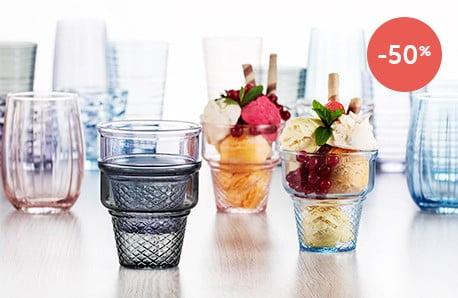 Pahare, carafe, boluri și cupe de înghețată
