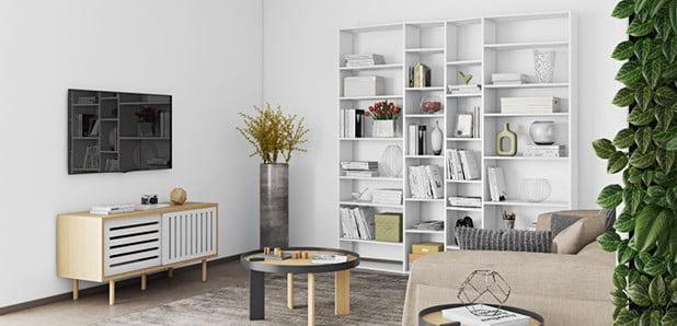 Malé i velké knihovny a poličky do každé místnosti