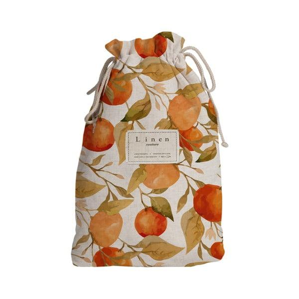 Sac textil de călătorie Linen Couture Blue Oranges, lungime 44 cm