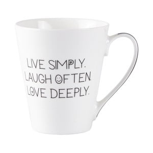 Porcelánový hrneček KJ Collection Live Laugh Love, 300ml