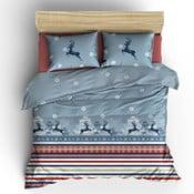 Lenjerie de pat cu cearșaf din bumbac Blue Christmas, 200 x 220 cm