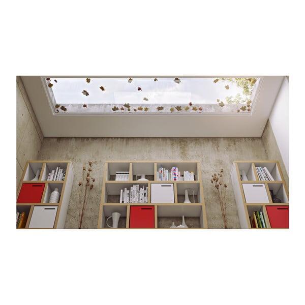 Bibliotecă TemaHome Berlin 5, decor lemn, detalii albe