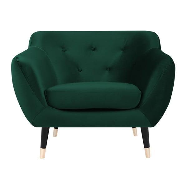 Zelené křeslo s černými nohami Mazzini Sofas Amelie