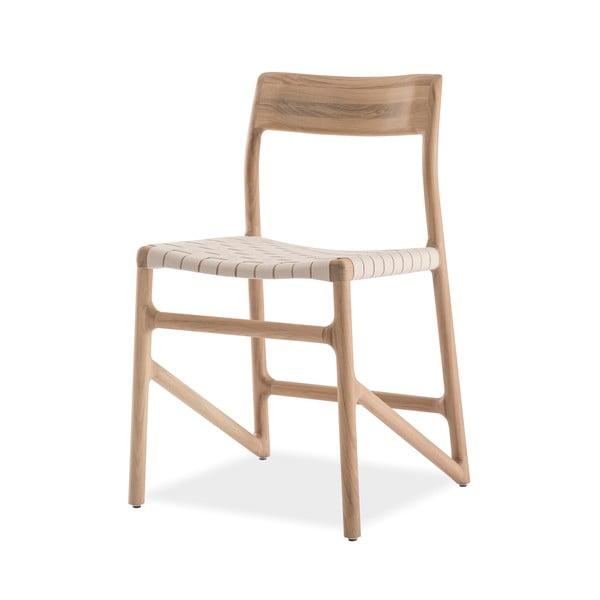 Jídelní židle z masivního dubového dřeva s bílým sedákem Gazzda Fawn