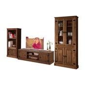 Set 3 piese de mobilier din lemn de pin pentru sufragerie Støraa Alfredo, maro închis