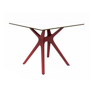 Jídelní stůl s červenýma nohama a bílou deskou vhodný do exteriéru Resol Vela, 90 x 90 cm