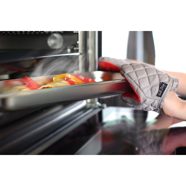 Mănușă de bucătărie din bumbac cu silicon Vialli Design Hot Touch, roșiu - gri