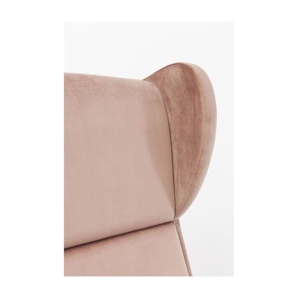 Růžové křeslo ušák Kare Design Silence Velvet