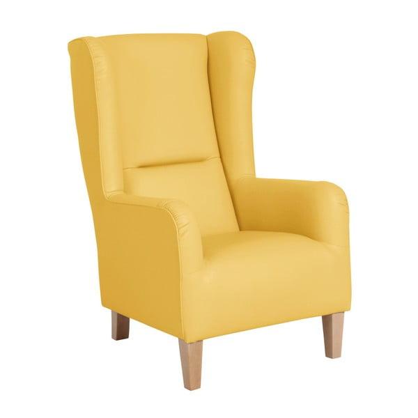 Žluté koženkové křeslo ušák Max Winzer Bruno