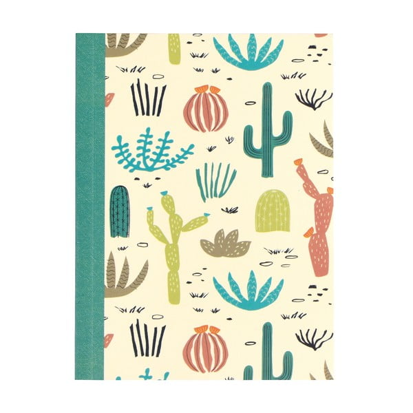 Set 2 caiete exerciții tip dictando cu imprimeu cu cactuși Rex London Desert in Bloom