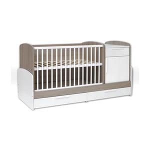 Pătuț alb pentru copii cu sertar și bandă de protecție Faktum Poppi Kombi, 70 x 120 cm