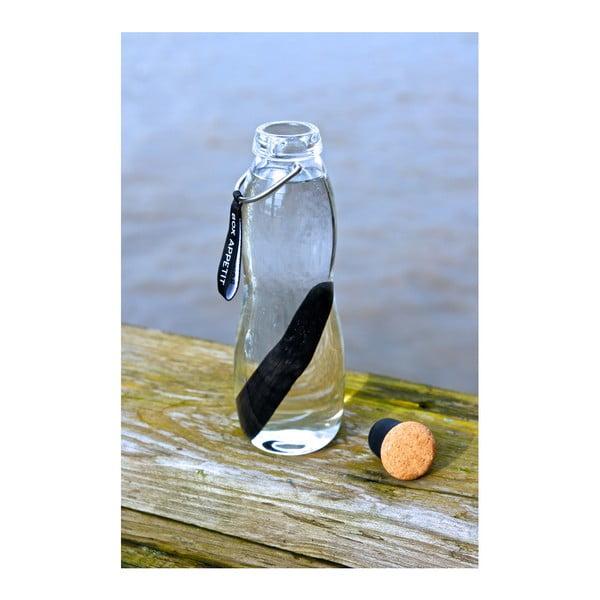 Černá skleněná filtrační láhev s neoprénovým obalem a binchotanem Black Blum Pure, 600 ml