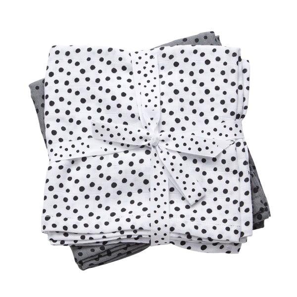Sada 2 bílé a šedé mušelínové plenky Done By Deer Happy Dots