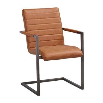 Scaun cu baza metalică, neagră Rowico Clive, maro coniac de la Rowico