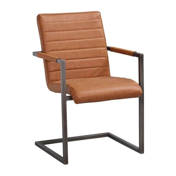 Koňakově hnědá židle s černým kovovým podnožím Rowico Clive