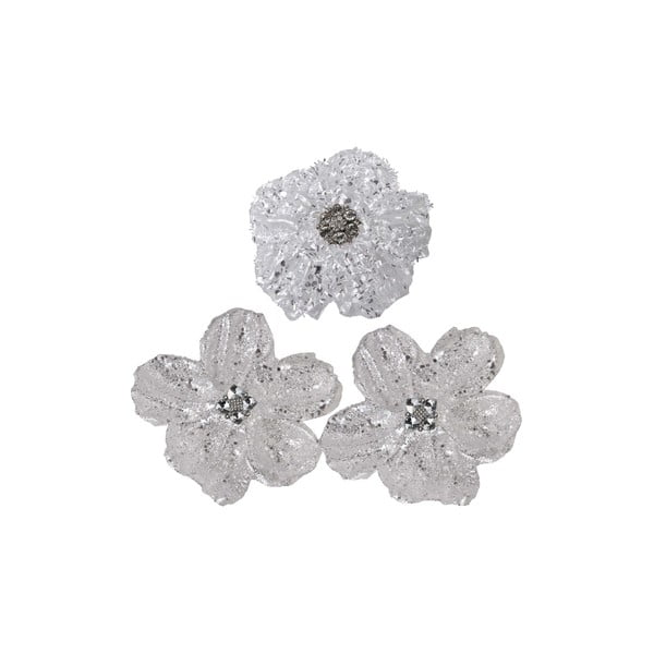 Sada 3 dekorativních květin Grey