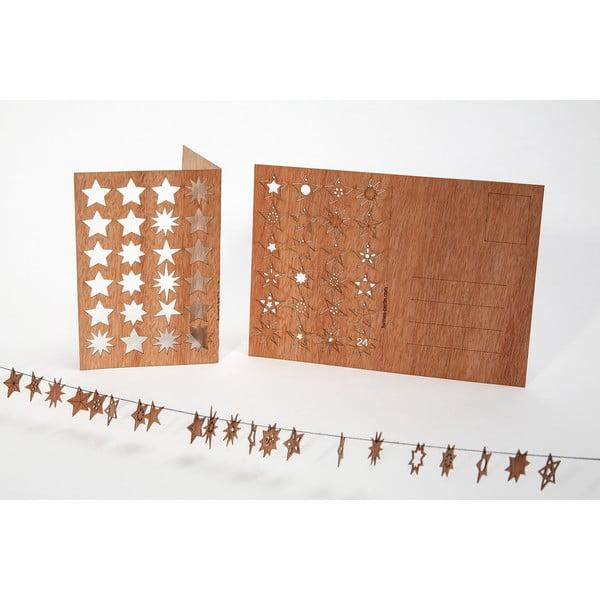 Drewniana kartka świąteczna Formes Berlin z 24 gwiazdkami, 14,8x10,5 cm
