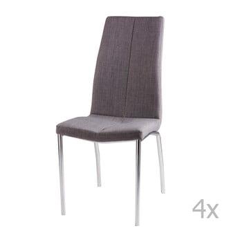 Set 4 scaune sømcasa Carla, gri deschis