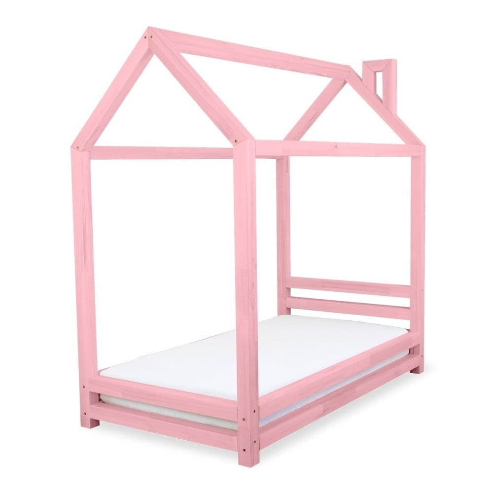 Dětská růžová postel z borovicového dřeva Benlemi Happy, 80 x 160 cm