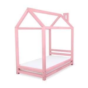 Pătuţ din lemn de pin pentru copii Benlemi Happy, 90 x 200 cm, roz