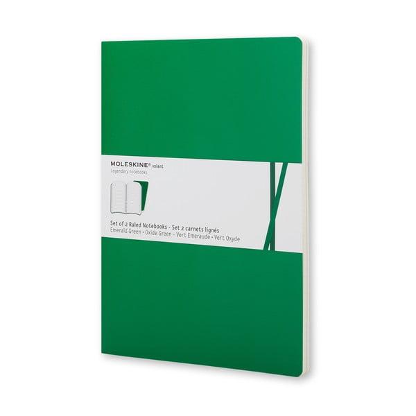 Smaragdově zelený  zápisník Moleskine Voilant, linkovaný