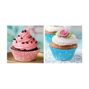 Set obrazů na skle Cupcake, 20x20 cm, 2 ks