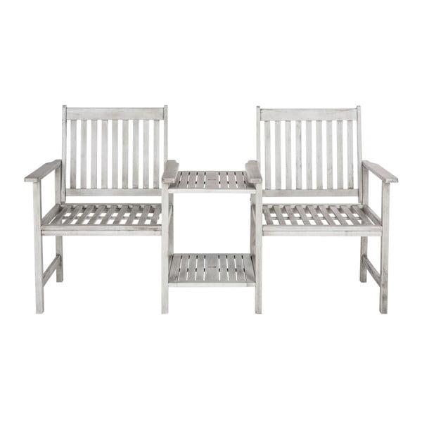 Szary zestaw 2 krzeseł ze stolikiem z drewna akacji Safavieh Marseille