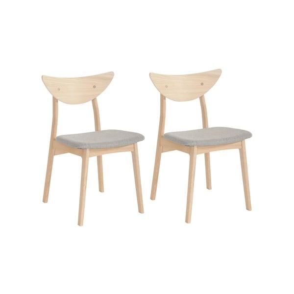 Sada 2 jídelních židlí z masivního dubového dřeva s béžovým sedákem WOOD AND VISION Chief