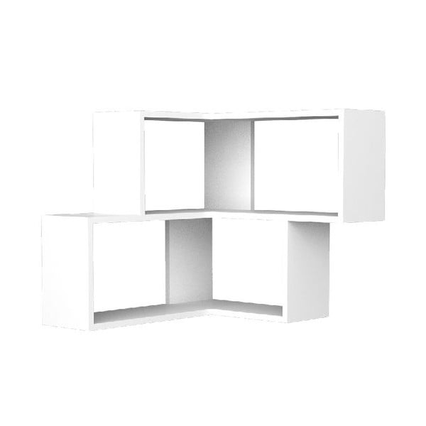 Rohová police Corniel 61x70 cm, bílá