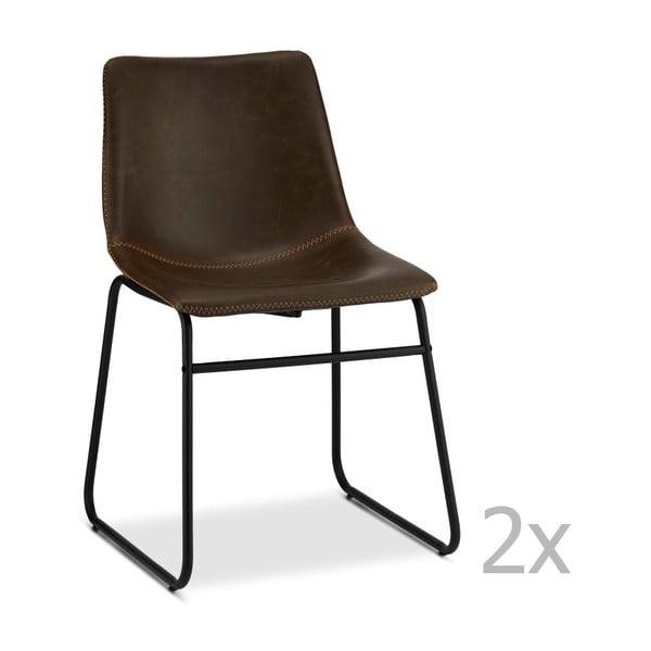 Zestaw 2 ciemnobrązowych krzeseł Furnhouse Indiana
