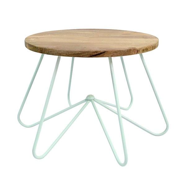Světle zelený stolek s deskou z mangového dřeva HF Living Round Stocky