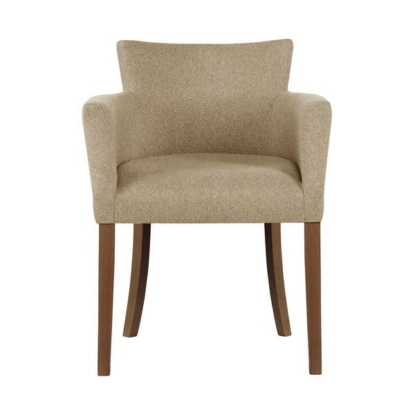 Béžová židle s tmavě hnědými nohami z bukového dřeva Ted Lapidus Maison Santal