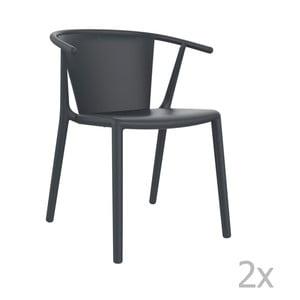 Sada 2 tmavě šedých zahradních židlíResol Steely