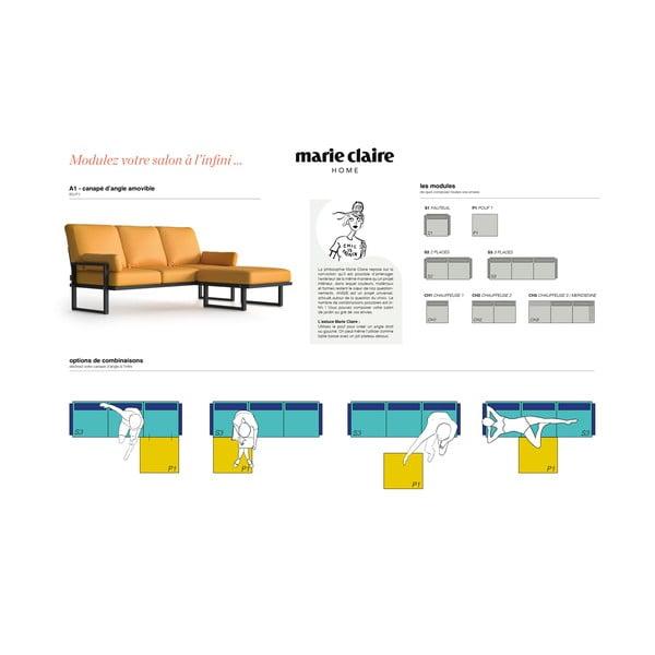 Žlutá rohová pohovka s odnímatelnou podnožkou Marie Claire Home