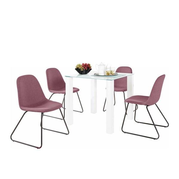 Sada stolu a 4 růžových židlí Støraa Dante Colombo