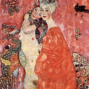 Reproducere tablou Gustav Klimt - Girlfriends or Two Women Friends, 60 x 60 cm