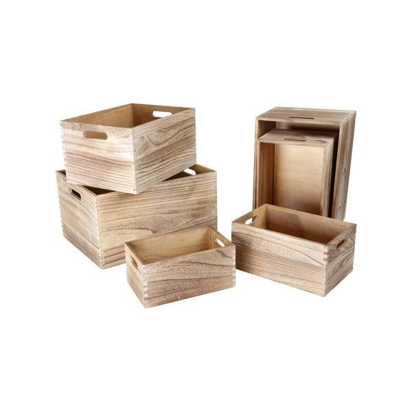 Sada 6 drevených úložných boxov Legler Wooden