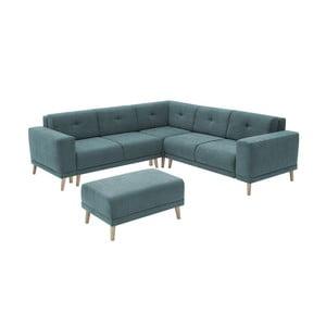 Canapea extensibilă cu suport pentru picioare Bobochic Paris Luna, albastru