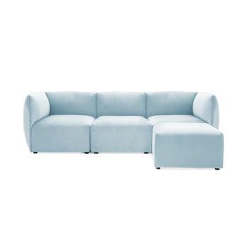 Canapea modulară cu 3 locuri și suport pentru picioare Vivonita Velvet Cube, albastrul cerului de la Vivonita