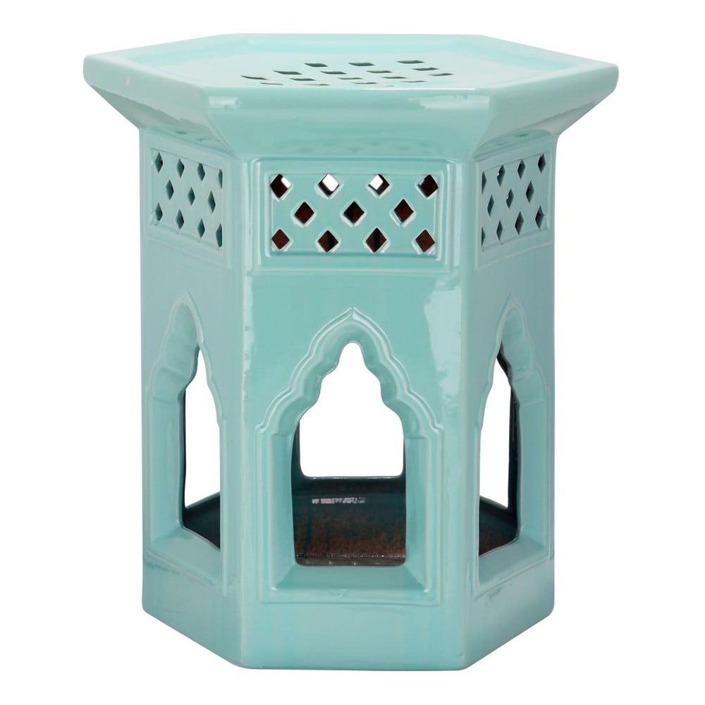 Tyrkysový porcelánový odkládací stolek vhodný do exteriéru Safavieh Moroccan