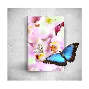 Nástěnný 3D obraz Mosticx Butterflies With Pink Flowers, 40 x 60 cm