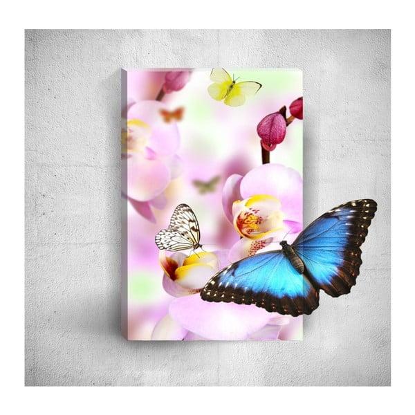 Butterflies With Pink Flowers 3D fali kép, 40 x 60 cm - Mosticx