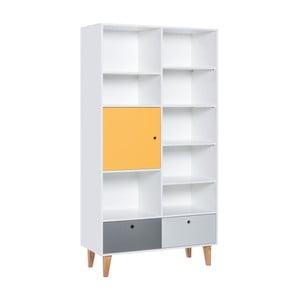 Knihovna se žlutými dvířky z dubového dřeva Vox Concept, 105 x 21