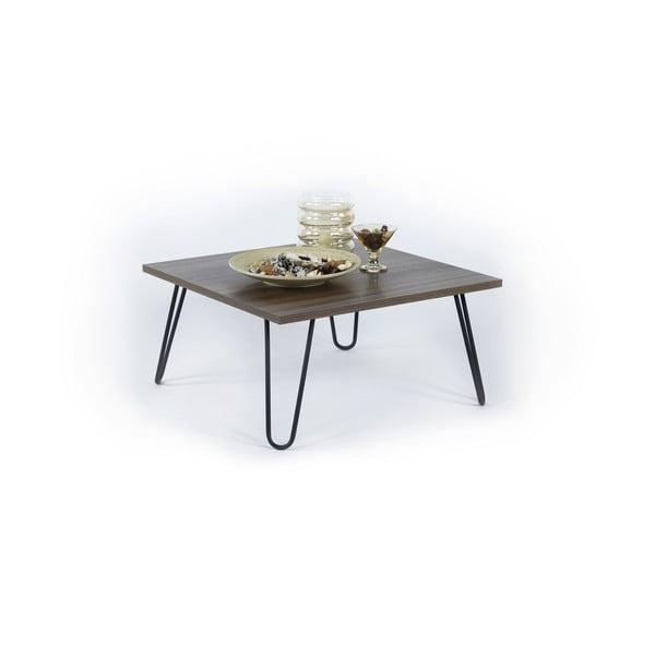 Czarny stolik z dekorem drewna orzechowego Illia Jane, 60x60 cm