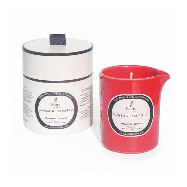 Lumânare pentru masaj Parks Candles London Stimulating, aromă de lemn de santal, patchouli și ylang ylang, durată ardere 50 de ore
