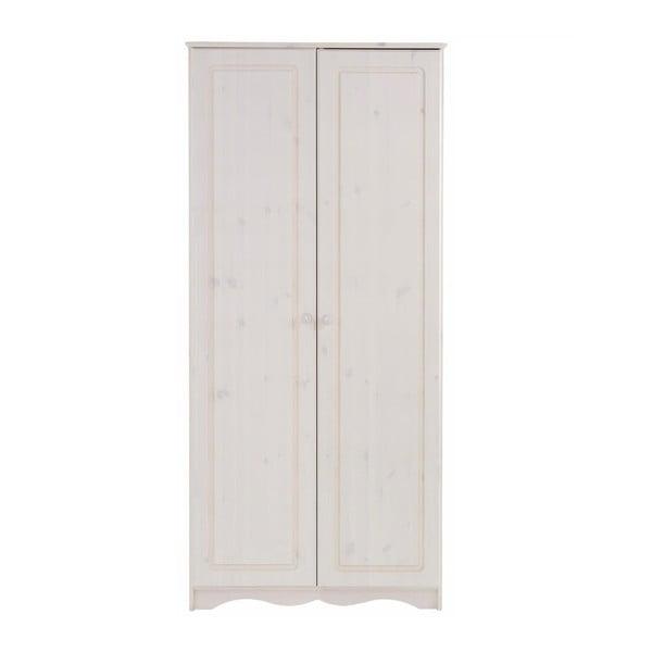 Șifonier din lemn de pin masiv cu 2 uși Støraa Amanda, alb