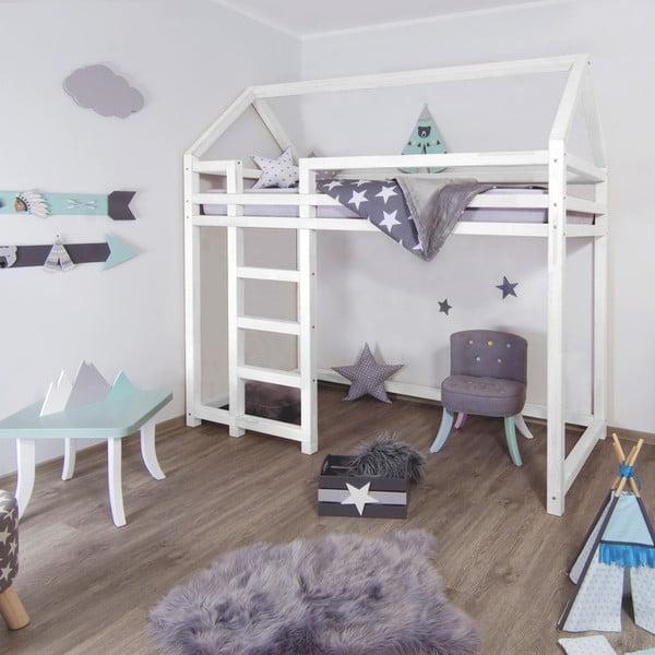 Bílá dřevěná vyvýšená dětská postel Benlemi Nesty,90x200cm