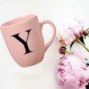 Růžový keramický hrneček Vivas Letter Y, 330ml