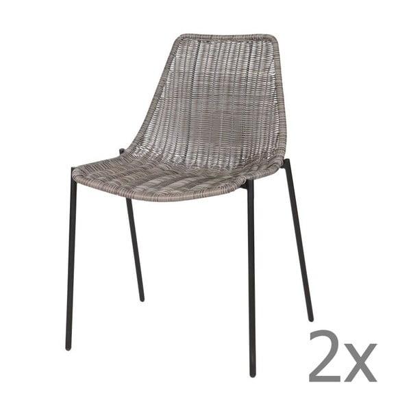 Sada 2 šedých židlí Morris Grey